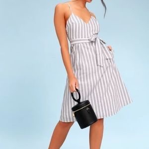 Lulus Black and White Striped Midi Dress Nelson M
